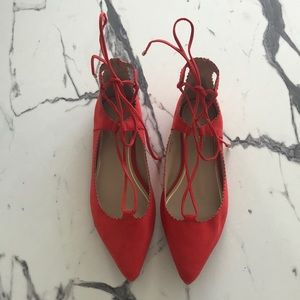 TopShop Lace Up Ballet Flats - Red, Never Worn!
